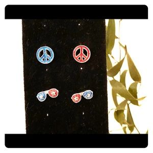 Peace sign and sunglasses stud earrings